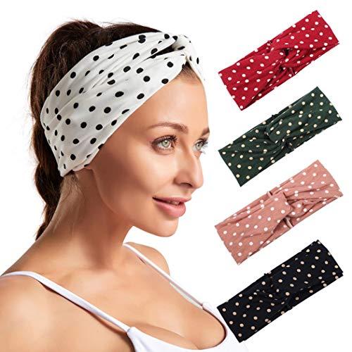 Bohend Boho Breite Frauen Stirnbänder Pack Welle Punkt Haarbänder Bohemia reise Stirnband Mode Drucken Bandeau Sport Baumwolle Haar-Accessoires Für Mädchen (5 Packung)