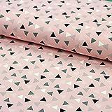 Stoff Baumwolljersey Dotted Triangle rosa grau 50cm x 145cm