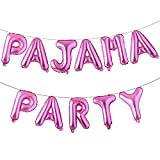 16 inch Pajama Party Balloons Banner Girls Sleepover Birthday Party Decoration Slumber Parites Banner Colorful Balloons Backdrop (PAJAMA PARTY Rose Red)