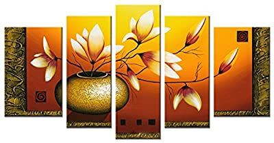 Wieco Art - Modern Canvas Wall Art Stretched and Framed Hand-Painted Golden Bottle Elegent Flowers Home Decoration Floral Oil Paintings on Canvas 5pcs/Set from Wieco Art