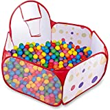 Kinder Bällebad Pop Up Zelt Kinderspielzelt Baby Spielhaus Outdoor mit Mini Basketballkorb (Single...