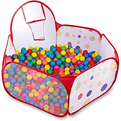 Kinder Bällebad Pop Up Zelt Kinderspielzelt Baby Spielhaus Outdoor mit Mini Basketballkorb (Single Ball Pool 40Inch)
