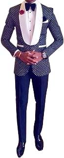 Men 2 Piece 1 Button White Dot Navy Blue Slim Fit Fashion Suits