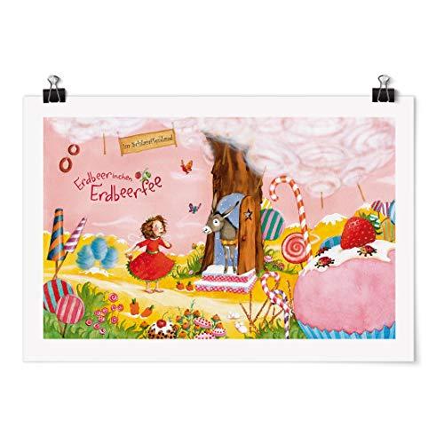 Bilderwelten Poster Motiv - Erdbeerinchen Erdbeerfee - Schlaraffenland - Glänzend 40 x 60cm