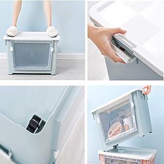 MU Ménage Portable Boîte De Rangement en Bois Massif, Avant Ouvert en Plastique Jouet Snack Couette Vêtements Salon Stocka...