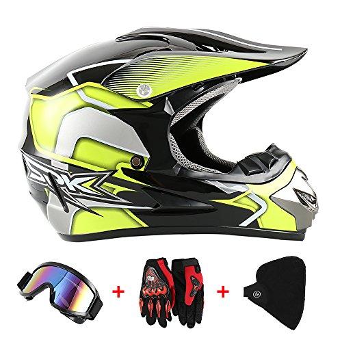 Motocross Helm Cross Helme Motorradhelm Schutzhelm für Motorrad Crossbike Off Road Enduro Sport mit Handschuhe Sturmmaske und Brille 58-59CM (Schwarz+Gelb)