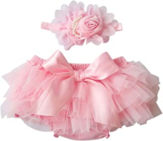 BAOBAOLAI Newborn Girl Baby Outfits Photography Props Infant Chiffon Ruffle Bloomers Pants Bowknot with Headband Costumes