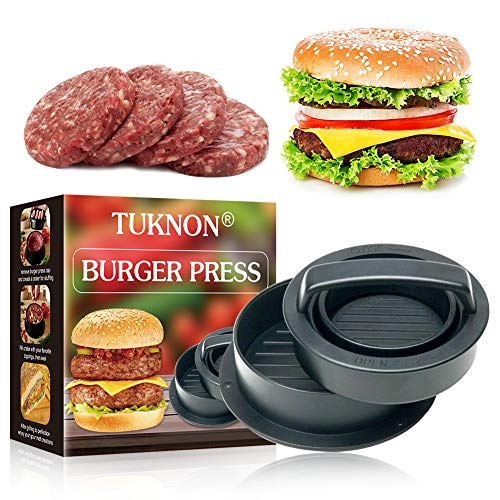 Burgerpresse, Burgerpresse Patty Maker, Burgerpresse Patty Presse, 3 in 1 Burger Patty Presse, für perfekte Burger, Patties oder Frikadellen, Robustes Grillzubehör, spülmaschinenfeste Hamburger Presse