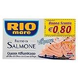 rio mare - filetto di salmone cotto al vapore, gusto affumicato, con olio di oliva e grani di pepe, senza conservanti, 1 lattina da 125g