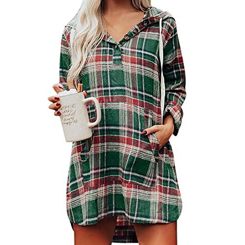 NISOWE Sudadera de manga larga con capucha para mujer, estilo casua, multicolor, M