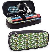 Estuche de bolígrafo y lápiz de cuero de alcachofa con cierre de cremallera, bolsillo de malla para cocinar y comer, múltiples bolsillos con cremallera