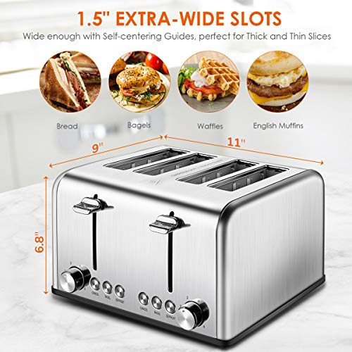 REDMOND 4 Slice Toaster, Stainless Steel Toaster with Bagel, Defrost, Cancel Function, Extra Wide Slots, 6 Bread Shade Settings, 1650W, ST026