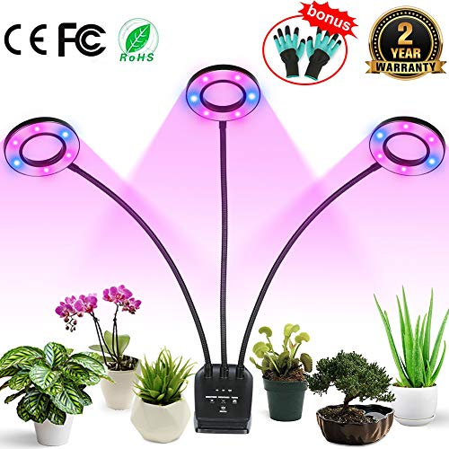 Professional Grow Light, Full Spectrum LED Plant Light for Indoor Plants, 4/8/12H Auto ON/Off Timer, 8 Dimmable 36W Triple Heads Growing Lamp for Garden Seeds Herbs Succulents Orchids Hydroponics