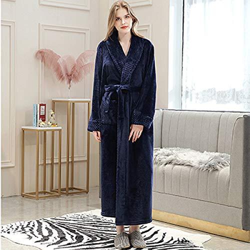 YSKDM En oferta Albornoz extralargo suave como de franela de seda para hombre Bata de baño cálida de invierno para hombre Albornoz para hombre Albornoces Kimono para hombre, Azul marino para mujer, XL