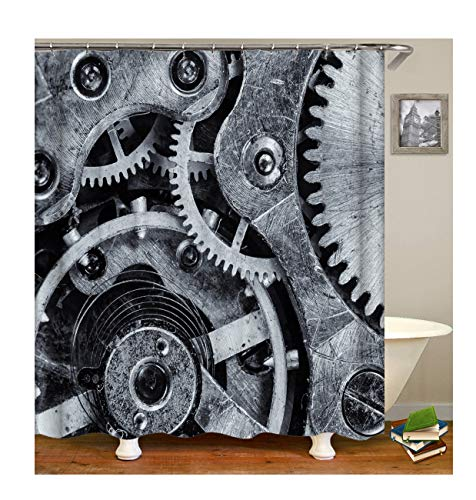 Gnzoe Polyester Mechanical Internal Gear Pattern Shower Curtain 180x200CM
