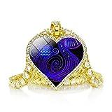 Collar De 12 Constelaciones De Moda, Collar De Cadena De Diamantes De Imitación Chapado En Oro, Colgante De Corazón De Amor, Joyería Del Zodiaco, Acuario