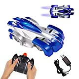 Remote Control Car, Gravity Defying 360 Degree Rotating Stunt RC Car with LED Light,Wall & Land Dual-Mode Toy Car for Kids. (Blue)