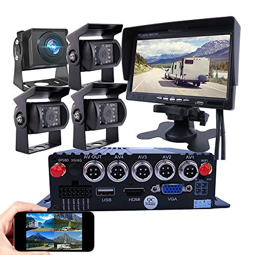 JOINLGO 4-CH GPS WiFi 1080P AHD Mobile Vehicle Car DVR MDVR Video Recorder Kit Remote Live View on PC Phone with IP69 Night Vision 2.0MP Rear Side View Car Camera for Truck Bus RV