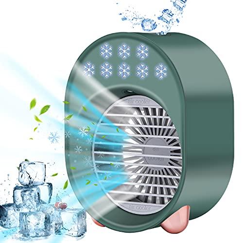 Condizionatore Portatile Personale, 4 IN 1 Personale Cooler Ventilatore Mini Raffreddatore D'aria, 3 velocità Regolabili 7 Colori,per Casa e Ufficio,Verde