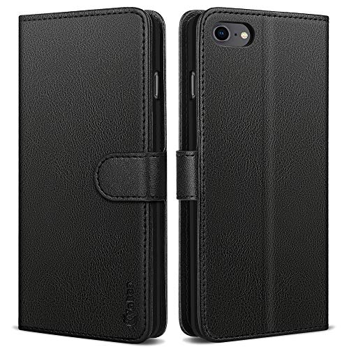 Vakoo Wallet Serie Handyhülle für iPhone SE 2020 Hülle, iPhone 7 Hülle, iPhone 8 Hülle - Schwarz