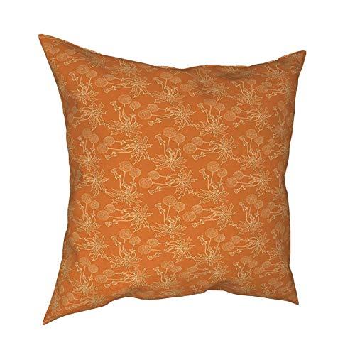iksrgfvb Funda de Almohada Fundas de cojín Fundas de Almohada cuadradas de Setas psicodélicas Naranjas para sofá de Sala de Estar 18 x 18 Pulgadas