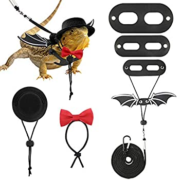 VavoPaw Bearded Dragon Lizard Leash Harness  S/M/L 3 Pack  Adjustable Leash Bat Wings Costume Accessories with Hat & Bow Tie Collar for Lizard Reptile Gecko Iguanas Amphibians & Small Animals