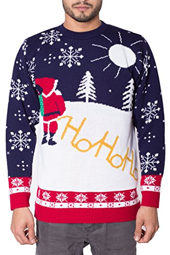 NOROZE Herren Unisex Retro Hässlich Frech Gestrickt Weihnachten Pullover Strickpullover Top M Ho Ho Santa- Sahne