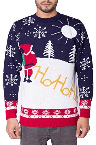 Noroze - Maglione natalizio, unisex, per uomo, a maglia, con cappello Ho Ho Santa Large