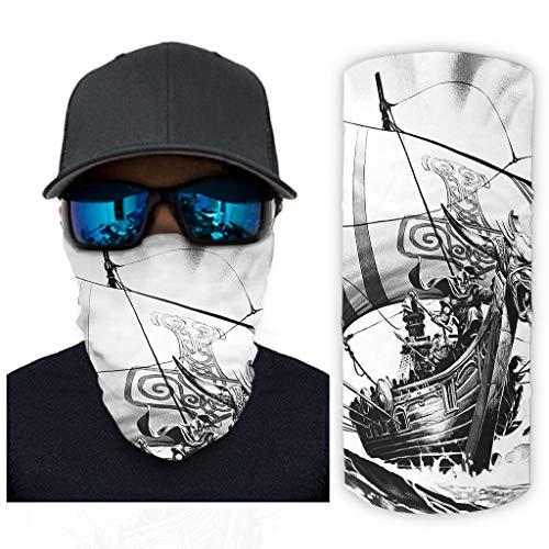 CCMugshop Pasamontañas para la cara, diseño vikingo de guerrero, color blanco, talla única