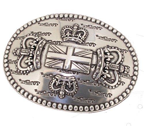 Gürtelschließe Gürtelschnalle -Union Jack - silber - für 3,8 bis 4 cm breite Bänder