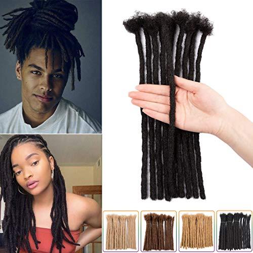 8 Inch 35 Strands 100% Human Hair Dreadlock Extensions for Man/Women Full Handmade Crochet Braids Dreadlocks Medium Size 0.8cm Natual Black Solid Color (Width 0.8cm, Natual Black)