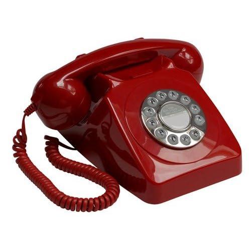 GPO - Teléfono retro con soporte para la pared, color rojo [Importado del Reino