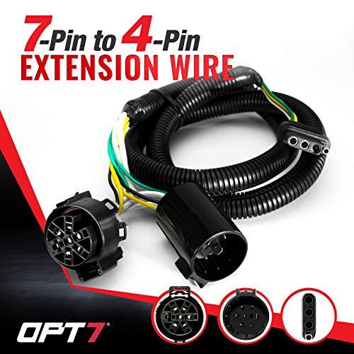 OPT7 - Adaptador de conector de luz para portón trasero de 7 a 4 pines, 4 pies
