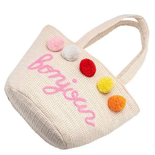 Stroh tas dames strandtas met opschrift, gevlochten schoudertas dames handtas grote mandtas shopper met schattige gebreide wolbal cadeau voor vriendin vrouw zomer winkelen vakantie