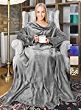 Tirrinia Wearable Fleece Blanket with Sleeves for Adult Women Men, Super Soft Comfy