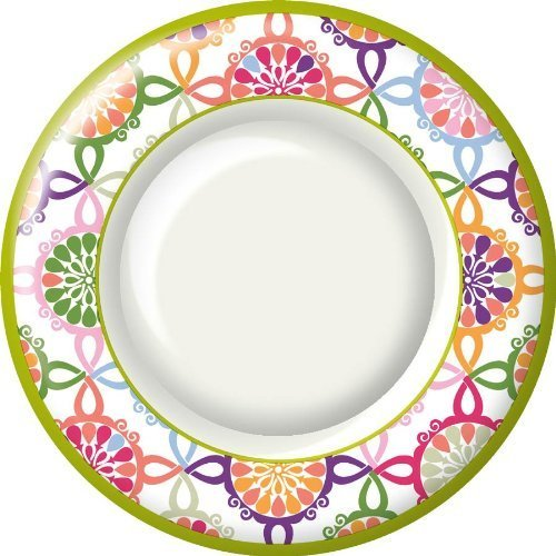 Ideal Home Range 8 Count Boston International Round Paper Dinner Plates, Pink Colorful Tile by Ideal Home Range