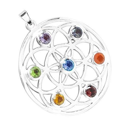 Spirit of Avalon Anhänger/Amulett Blume des Lebens Flower of Life, Silber 7 Chakra - Yoga Esoterik Spiritualität Astrologie Meditation Energie