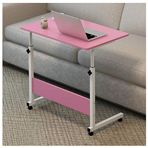 LYLSXY Mesa para Computadora Portátil Mesa De Centro De Altura Ajustable, Mesa De Mesa para Computadora Portátil Portátil para PC Portátil, Altura Y Ángulo Ajustables con Ruedas (Color : Pink)