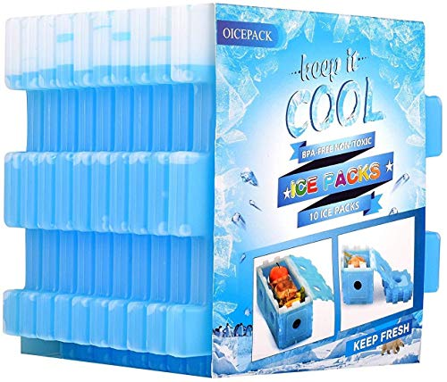 10 x Ice Packs for Lunch Box, Slim Ice Packs Quick...