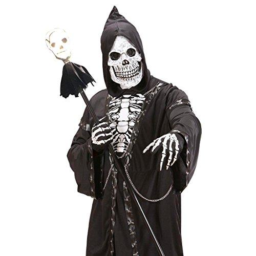 NET TOYS Sceptre avec Tête de Mort Lumineuse Crâne Bâton 120 cm Squelette Tête de Mort Bâton Tête de Mort Canne Halloween Bâton Lumineux Faucheuse Déguisement Accessoire