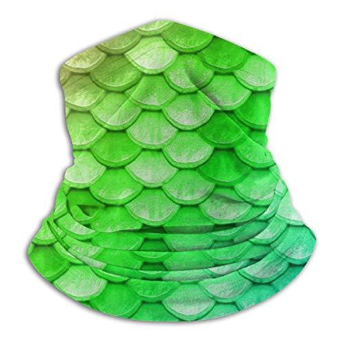 ERGDF Adultos Niños Cuello Polainas Tubo Calentador del oído Diadema Cara térmica Colorido Arco iris Sirena Escalas Verde