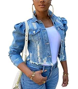 ThusFar Women Casual Distressed Frayed Denim Jackets Frayed Raw Hem Button Up Hollow Washed Cropped Jacket LightBlue XL