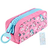 Unicorn Cute Pencil Case for Girls, Kids Makeup Bag and Pencil Bags with Large Zipper, Pen Pencil Pouch for School/Office, Pen Box Case Desk Stationery Organizer Rose Red