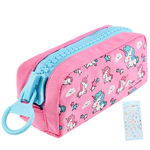 CAMDEA Unicorn Cute Pencil Case for Girls, Kids Makeup Bag and Pencil Bags with Large Zipper, Pen Pencil Pouch for School/Office, Pen Box Case Desk Stationery Organizer Rose Red