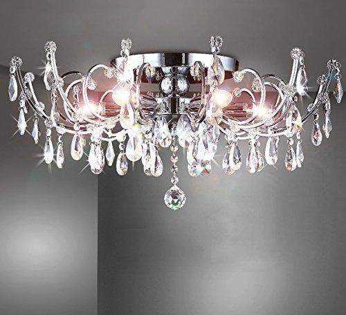 Strass Kristall Kronleuchter Deckenlampe Deckenleuchte Lüster Wohnzimmer Beleuchtung Kristallleuchte Wohnzimmerlampe klassisch XL 60cm 6xE14 Fassungen - 2