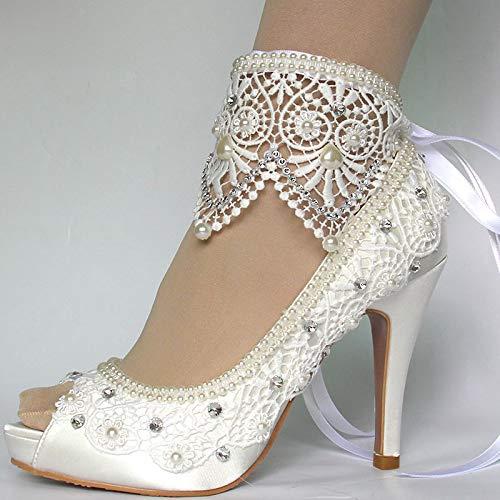Amazon Com Women S Wedding Shoes White Ivory Lace Pearls Peep Toe Wedding Shoes Bride Large Size 41 42 Handmade