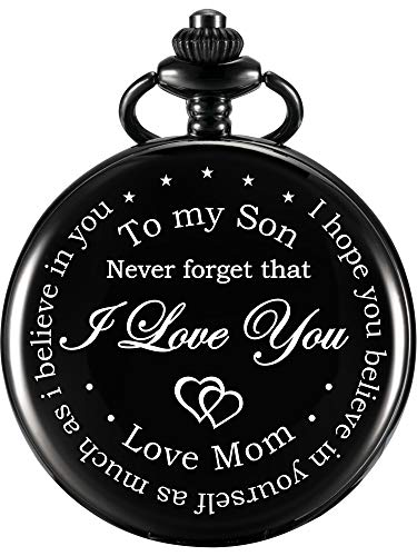 Hicarer Pocket Watch Gift for Son-Never Forget That, I Love You, Love Mom-from Mother to Son Pocket Watch with Chain (Black)