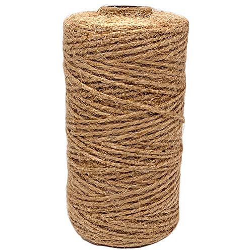 Jute Twine 1.5 mm Thick 328 Feet Durable Natural Jute Rope String Perfect for Arts Crafts Mason Jars Knife Handle…