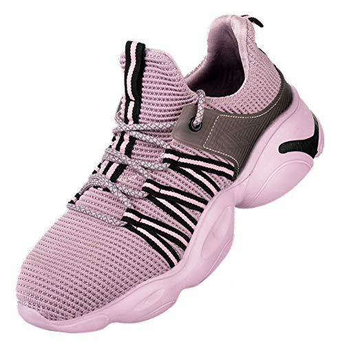 [AKIMOTO] 安全靴 作業靴 スニーカー メンズ レディース スポーツ ハイカット 超軽い 鋼先芯 通気 ミッドソール ワークシューズ ピンク 25cm