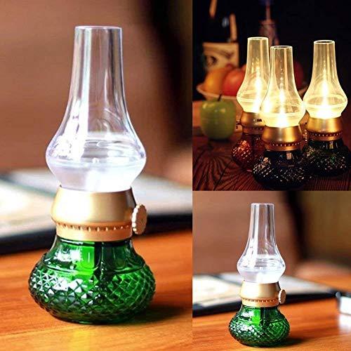 qingtianlove Öllampen Petroleumlampe LED-Kontrolllampe for Durchbrennen -USB Wiederaufladbar Creative Kerosin Oil Lamp Dimmer Control (Color, Red),Green